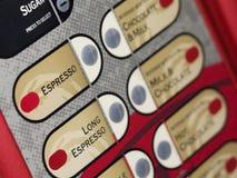 Coffee machine keypad. Coffee vending machine keypad with coffee names royalty free stock image