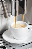 Coffee machine making espresso. Coffee machine making a hot espresso cup Royalty Free Stock Photos