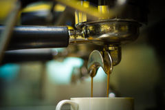 Coffee machine making espresso Royalty Free Stock Images