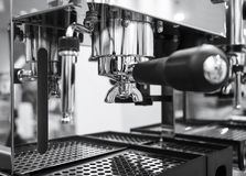Coffee machine making espresso Cafe restaurant Black and white Stock Image