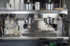 Coffee machine in mobile shop Royalty Free Stock Photography