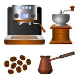 Coffee machine, old grinder and metal turk set Stock Images