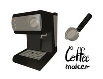 Coffee machine with portafilter. Lettering coffee maker royalty free illustration