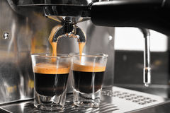 Coffee machine preparing cup of coffee Royalty Free Stock Images