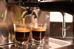 Coffee machine preparing cup of coffee Royalty Free Stock Photography