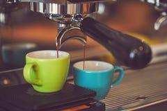 Coffee machine preparing espresso royalty free stock photography