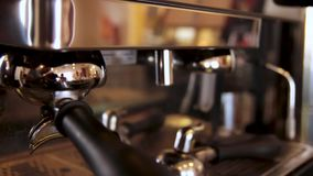 Coffee machine. Professional coffee machine in a bar close up. Coffee maker machine stock video footage