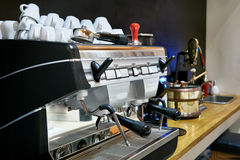 Coffee machine in restaurant bar Royalty Free Stock Photo