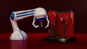 Coffee machine with robot Stock Photography