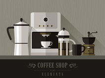 Coffee machine set in flat design Royalty Free Stock Photography