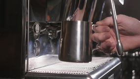 Coffee machine in the coffee shop. Close up shot. stock video footage