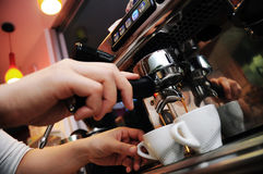 Coffee machine at work Royalty Free Stock Images