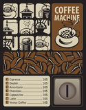 Coffee machines for hot drinks. Vector Design elements for coffee machines with icons hot drinks Stock Image