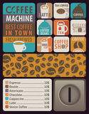 Coffee machines for hot drinks. Vector Design elements for coffee machines with icons hot drinks Royalty Free Stock Images