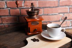 Coffee machines retro. A cup of coffee mixed with retro equipment Royalty Free Stock Image