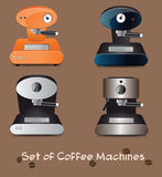 Coffee machines. Vector set of different coffee machines Stock Photos