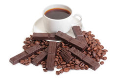 Coffee mag and chocolate. Coffee cup and chocolate on a white background Stock Photography