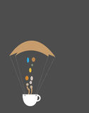 Coffee Make You Fly. Parachute Is Flying With The Help Of Coffee Smoke'help Stock Images