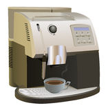 Coffee Maker. Coffee Machine with cup of coffee. Isolated on white. Coffee maker and cup of coffee are on separate layers Stock Photography