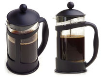 Coffee maker. French press coffee maker on white background. In two scenes Stock Photo