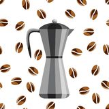 Coffee maker on a background of coffee beans. An icon of a coffee maker on a white background.  Royalty Free Stock Photos