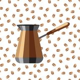 Coffee maker on a background of coffee beans. An icon of a coffee maker on a white background with coffee beans.  Royalty Free Stock Photos