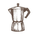 Coffee maker. Black and white sketch Royalty Free Stock Photography