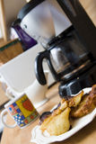 Coffee maker and breakfast Stock Image