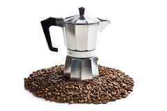 Coffee maker with coffee beans Royalty Free Stock Photo