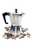 Coffee maker with coffee beans Royalty Free Stock Image