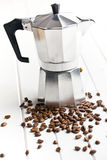Coffee maker with coffee beans Stock Photo
