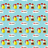 Coffee maker and coffee jug seamless pattern Royalty Free Stock Photos