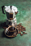 Coffee maker cup drink beans stone background Stock Images