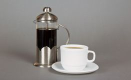 Coffee maker and cup Stock Image