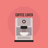 Coffee maker Cute banner with Kitchen appliance. Vector illustration stock illustration