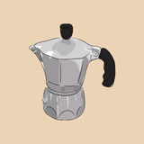 Coffee maker geyser, vector illustration. Coffee maker geyser  on background. Hand drawn sketch. Art vector illustration for your design Stock Photos