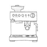 Coffee maker hand drawn line art illustration Stock Photos