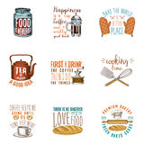 Coffee maker or kettle, french press, rolling pin. Bakery and pastries, dirty kitchen utensils, cooking stuff. logo Royalty Free Stock Images