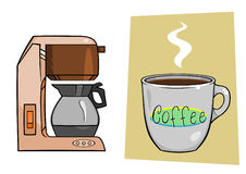 Coffee Maker Mug. A coffee maker and a mug full of coffee vector illustration