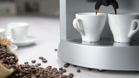 Coffee maker in operation stock video footage