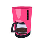 Coffee maker pink color with a teapot Royalty Free Stock Image