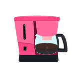 Coffee maker pink color with a teapot Stock Photography