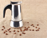 Coffee maker with seed Stock Photography