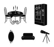 Coffee maker, served table in the restaurant and other web icon in black style isometric.Soft comfortable sofa, wall. Coffee maker, served table in the Royalty Free Stock Photo