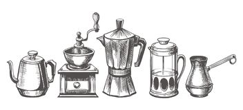 Coffee maker sketch. Coffee brews methods hand drawn vector illustration, espresso and french pressed, pouring pot and technical doodle coffees machines vector illustration