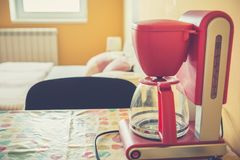 Coffee maker on the table stock image