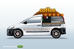 Coffee maker vehicle-van template, editable layout. HiRes, Vector EPS10 file. 100% Layered and editable. Good for all sizes royalty free illustration