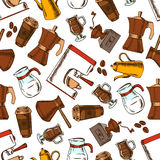 Coffee makers seamless pattern background Stock Images
