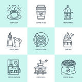 Coffee making, brewing equipment vector line icons. Elements - coffeemaker, french press, grinder, espresso, cup, beans Royalty Free Stock Image