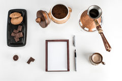 Coffee making and drinking accessories on the table Royalty Free Stock Photography